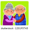 senior couple hugging and smiling (JPEG available in my gallery) - stock photo