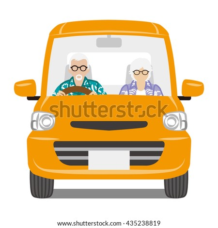 Senior Couple riding the Orange color car ,front view - Isolated