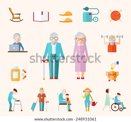 Senior lifestyle flat icons set with elderly family couple isolated vector illustration - stock vector