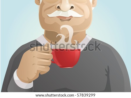 senior man enjoying of hot coffee aroma - stock vector