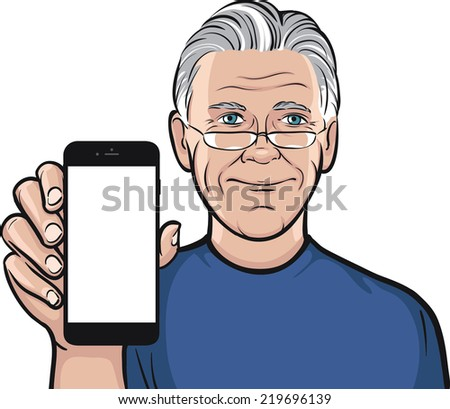 senior man in glasses showing a mobile app on a smart phone - stock vector