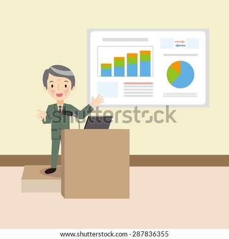 Senior man to the presentation - stock vector