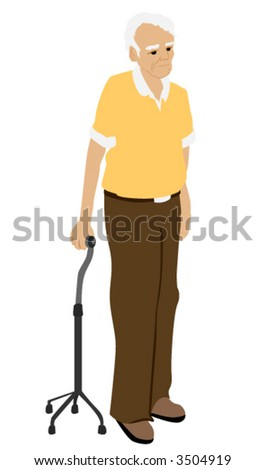 Senior man using a quad cane