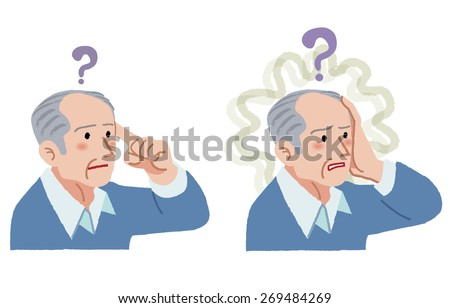 Senior man with gesture of having forgotten something, suffering from amnesia. - stock vector