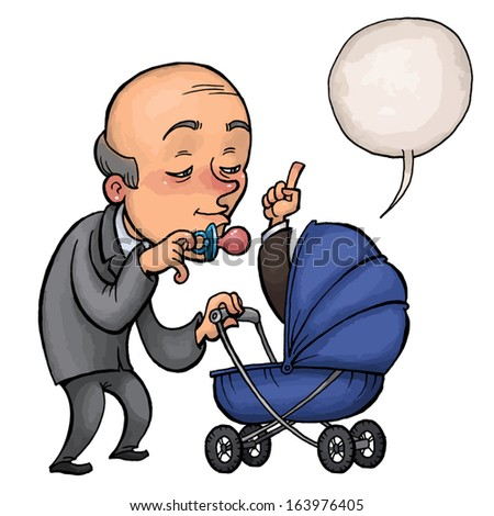 senior manager of nursing young worker in a baby carriage. vector drawing of a series of comic characters. - stock vector