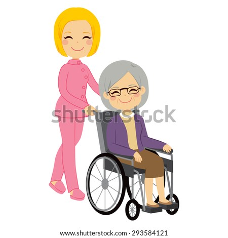 Senior patient woman in wheelchair with beautiful young nurse - stock vector