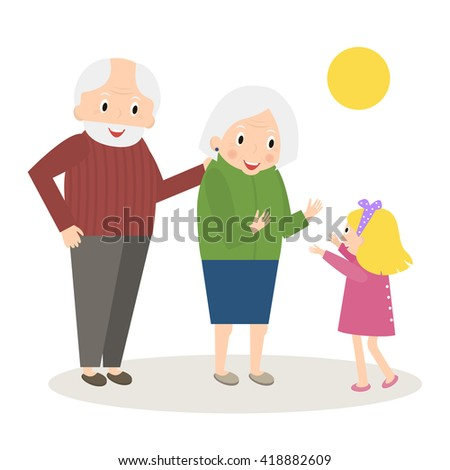 Senior people happy leisure time with granddaughter. Happy Grandparents with little granddaughter. Vector illustration - stock vector