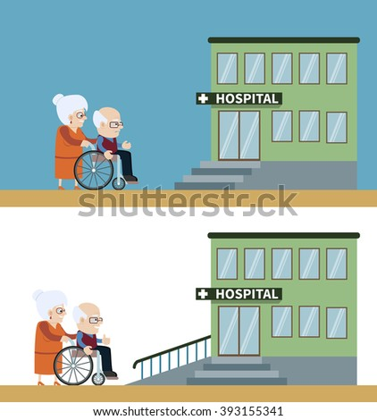 Senior woman and man in a wheelchair-  in front of building of hospital with wheelchair ramp. Concept for barrier free environment for physically challenged people. Vector illustration. Flat design. - stock vector