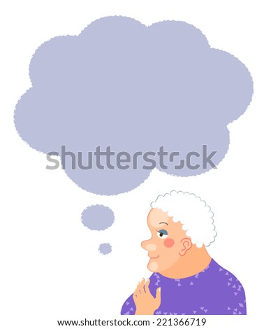 Senior woman cartoon character portrait with speech bubble - stock vector