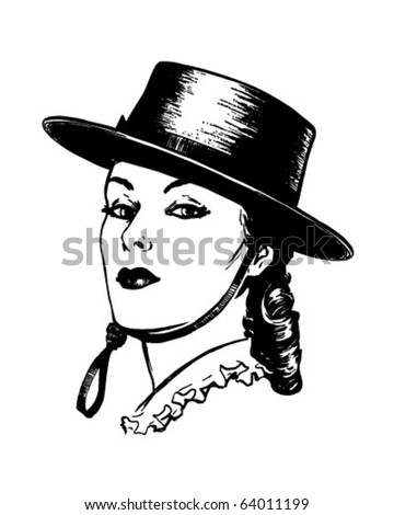 Senorita - Retro Clipart Illustration - stock vector