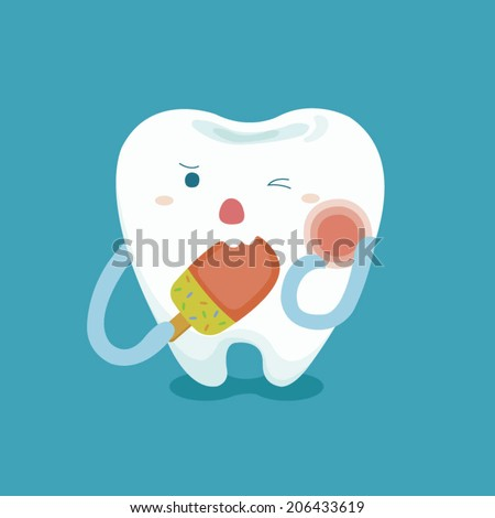sensitive tooth with ice cream - stock vector