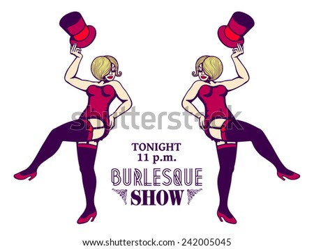 Sensual and attractive curvy ladies in corset and stockings performing a striptease on stage, sexy and erotic burlesque show flyer design - stock vector