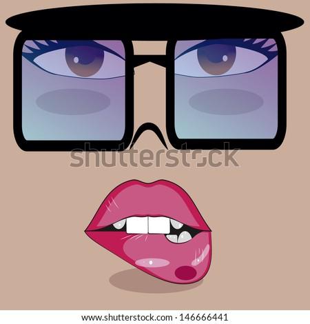sensual woman biting sunglasses makeup lips. - stock vector
