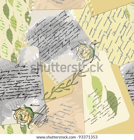 Sentimental old love letter-seamless worn-page notebook with blotches and dry flowers