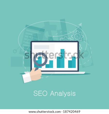 SEO analysis process vector concept with cool flat colors  - stock vector