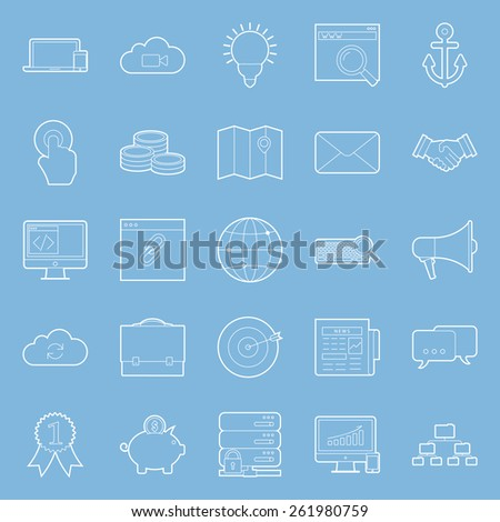 Seo and e-marketing thin lines icon set vector graphic illustration - stock vector