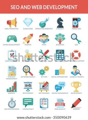 SEO and WEB development icons.  Use a set of icons for the development of optimization to promote your website. High-quality vector. Everything has been done to the pixel grid - stock vector