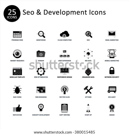 SEO and Website Development Icon Set. Abstract vector set of Gray flat SEO and development icons. Creative concepts and design elements for mobile and web applications. - stock vector