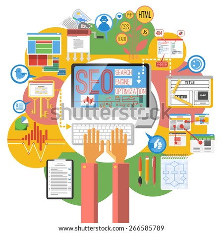 Seo concept computer search engine optimization coding  poster print with site map infographic elements abstract vector illustration - stock vector