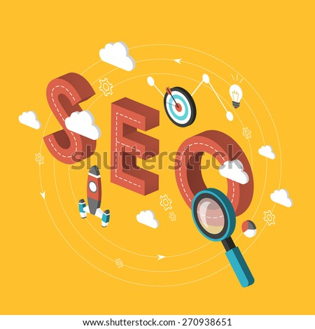 SEO concept 3d isometric infographic over yellow background - stock vector