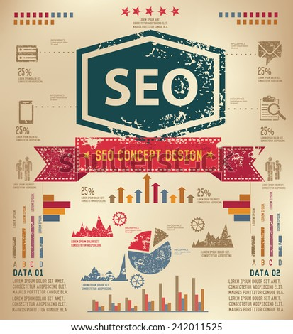 SEO concept  info graphic design on old paper,grunge vector - stock vector
