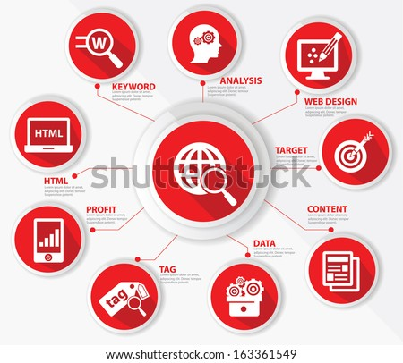 SEO concept,Internet technology,Red version,vector - stock vector