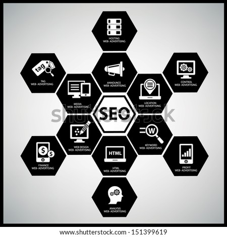 Seo concept on white background,Black version,vector - stock vector