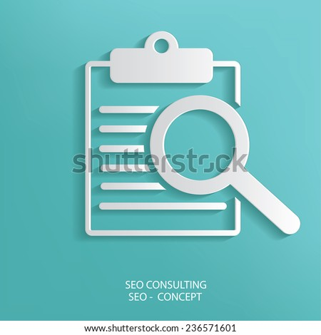 SEO Consulting symbol on blue background,clean vector