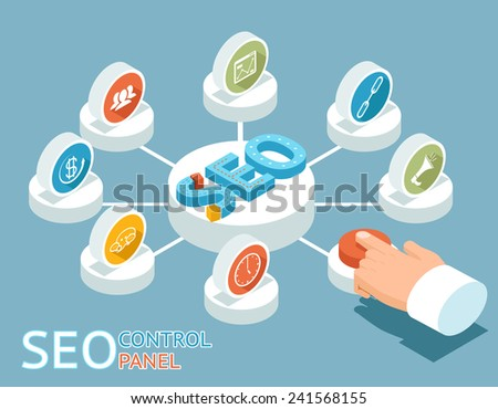 SEO control panel concept. The hand presses the button on the control panel of SEO. Vector illustration - stock vector