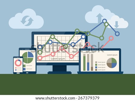 SEO data analysis using modern devices. Search Engine Optimization (SEO) concept. Vector illustration. Flat design - stock vector
