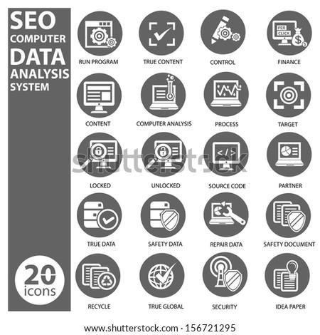 Seo,Data,Computer analysis icon set,vector - stock vector