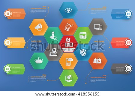 SEO development concept info graphic design on blue background,vector
