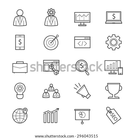 SEO Development Icons Line - stock vector