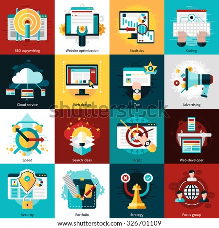 SEO development icons set with website optimization statistics and coding isolated vector illustration - stock vector