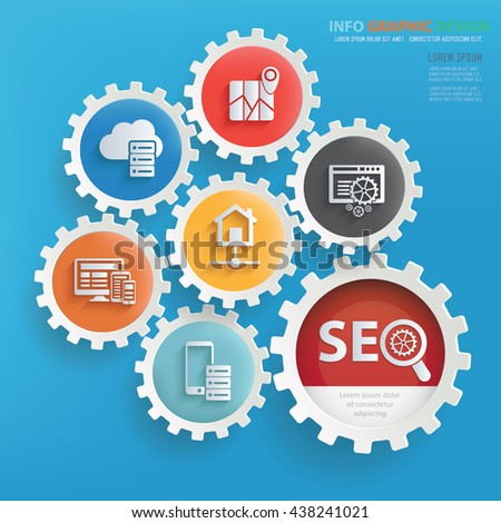 SEO development info graphic design on blue background,vector