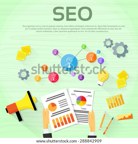 Seo Digital marketing Web Designer Workplace Vector Illustration - stock vector