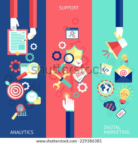 SEO flat banner set with analytics support digital marketing isolated vector illustration - stock vector