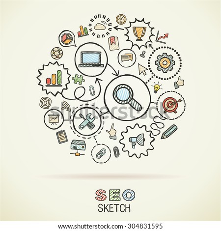 SEO hand drawing integrated sketch icons. Vector doodle marketing pictogram set. Connected infographic illustration on paper: network, business, connect, analytics, social media and market concepts - stock vector