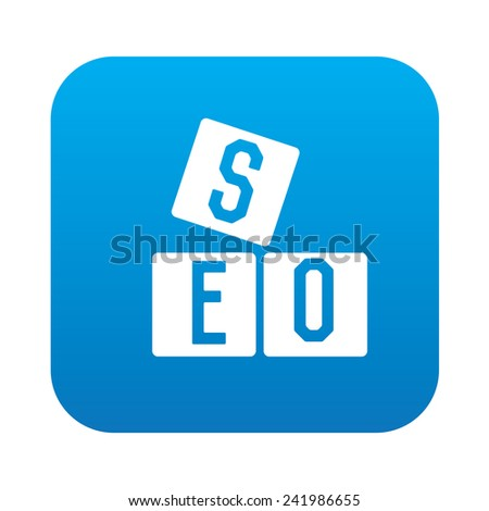 SEO icon on blue button background,clean vector - stock vector