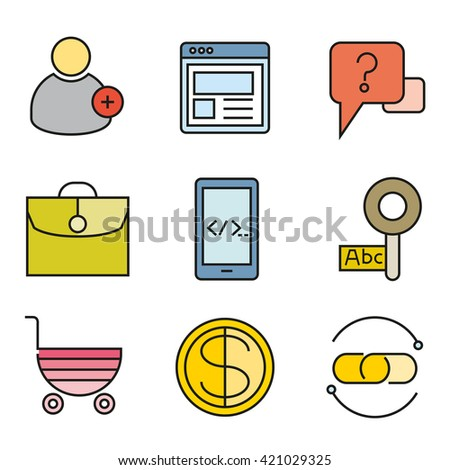 SEO icons, search engine optimization, internet marketing icons - stock vector