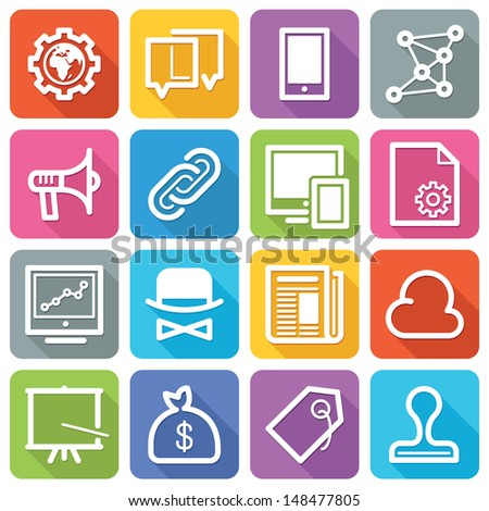 SEO Icons Set 2 - Flat Series - stock vector