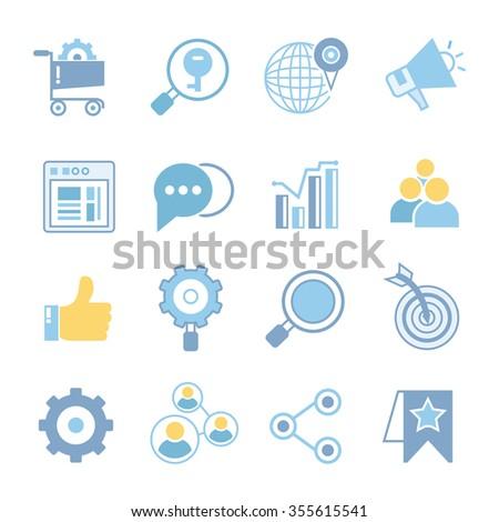 seo icons, social media icons, social network - stock vector