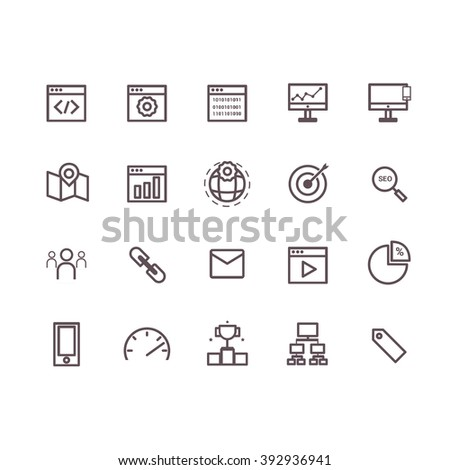 seo icons vector.line icons. - stock vector