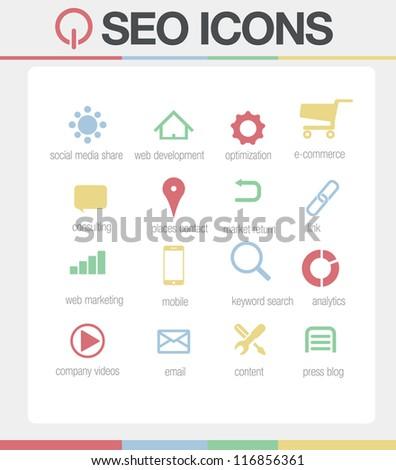 SEO Icons vector Set 1 - stock vector