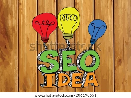 Seo Idea SEO Search Engine Optimization on wood background planks texture illustration - stock vector