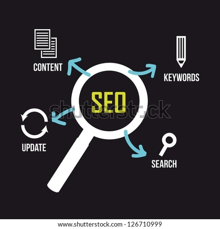 seo illustration with magnifying glass and icons. vector - stock vector
