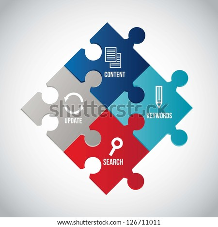 seo illustration with puzzles over gray background. vector - stock vector
