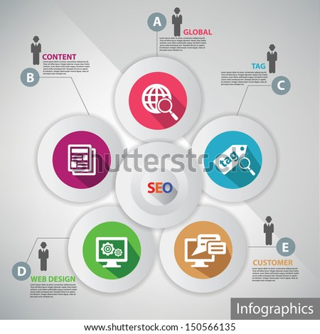 Seo infographics,for text,vector - stock vector
