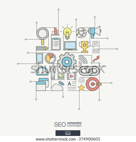 SEO integrated thin line symbols. Modern color vector concept, with connected flat design icons. Abstract background illustration for digital network, analytics, social media and market concept - stock vector