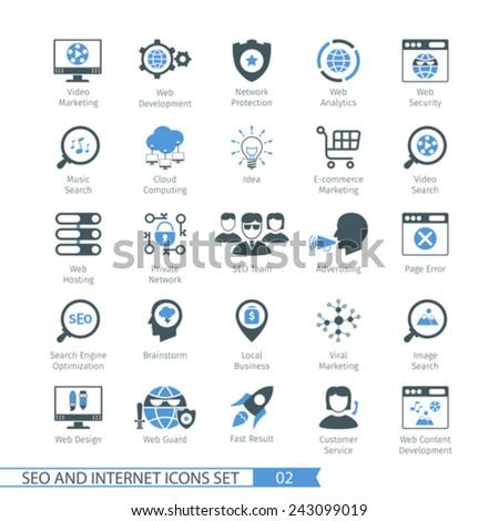 SEO internet and development icon set 02 - stock vector